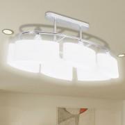 Лампа за таван с 6 елипсовидни стъклени абажура, за крушки тип Е14