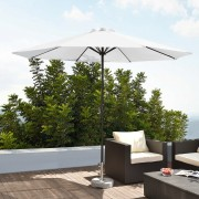 [casa.pro] Sombrilla Ø 300cm [blanca] con manivela parasol para jardín
