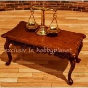 Masuta de cafea Louis XVI din lemn furnir nuc miniatura