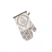 Manusa bucatarie din bumbac alba cu insertii maro