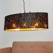 Lampenwelt.com Fluwelen hanglamp Jules, zwart-goud, 65x25 cm