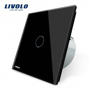 Livolo EU standaard Wandlamp Touch Schakelaar, AC 220 ~ 250 V, VL-C701-12, Black Crystal Glass Switch Panel