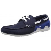 Crocs Men's Beach Line Lace-up Boat M Navy and White Canvas Sneakers - M8