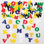 Letter Stickers - 550 Upper Case Alphabet Felt Letters. Self-adhesive letters in assorted bright colours made from soft 1mm thick felt. Size 23mm