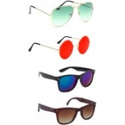 Elligator Aviator, Round, Wayfarer Sunglasses(Green, Red, Blue, Brown)