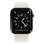 Apple Watch Series 4 - boîtier en acier inoxydable or 44mm - bracelet sport gris rocher (GPS+Cellular)
