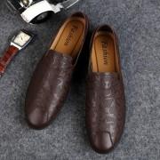 Fashion comfortabele erwten schoenen casual lederen schoenen voor mannen (kleur: bruin maat: 43)