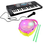 New Pinch Combo of 37 Key Piano Keyboard Toy with DC Power Option Recording Mic and Musical Flash Drum for Kids