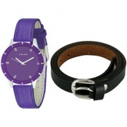 Crude Smart Combo Of Analog Watch-rg608 With Leather Belt for Women's Girl's