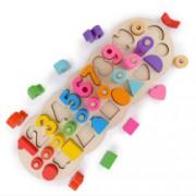 Jucarie din lemn Omida 3 randuri cu cifre si forme Multicolor