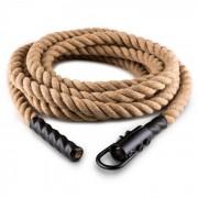 Klarfit Power Rope met haak 15 m 3,3 cm henneptouw Schwungtau plafondbevestiging