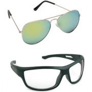 Magjons Fashion Combo Of green Mirror Aviator And Night Driving Sunglasses