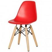 Scaun bucatarie eMesca Concept Rosu Plastic si lemn Pentru Terasa Cafenea Living sau industrial