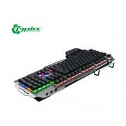 PK-900 Teclado Mecánico 104 Teclas Retroiluminadas Gaming Keyboard Con Soporte Para Teléfono Gris Claro