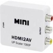 Adaptor Mini OEM HDMI la AV RCA Full HD 1080p video si audio stereo Alb
