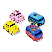 Spider-Man Toy Cars Boby Cartoon Pink Die Cast Metal Car Model Volkswagen Beetle Baby Gift Mini Toy car Baby Cars Pull Back Car ( Blue and Red)