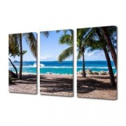 Tablou Canvas Premium Peisaj Multicolor Palmieri pe plaja Decoratiuni Moderne pentru Casa 3 x 70 x 100 cm