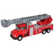 Happy Cherry Kids Pullback Fire Fighting Truck Toy Alloy Aerial Ladder Truck Model With Light Music
