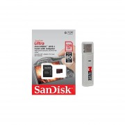 SanDisk Ultra 128GB UHS-I Class 10 MicroSDXC Memory Card Up To 80mb/s SDSQUNC-128G With Adapter And USB 2.0 MemoryMarket Dual Slot MicroSD & SD Memory Card Reader