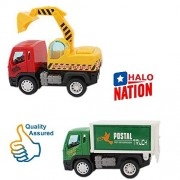 Halo Nation Construction Vehicle Set 2 pcs - Unbreakable Truck Toys ABS Plastic Friction Powered (JCB + Transport Truck)
