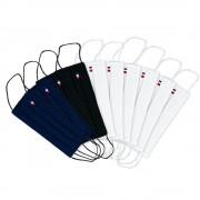 MASQUES DIRECT 10 Masques barrières 3 plis en tissu lavable réutilisable Marine Blanc et Noir - testé 10 lavages
