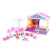 PlayMarket 32 Piece Playfood Mini Ice Cream Shop Toy Play Set with Music Lights and 2 Pocket Dolls Included