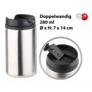 Rosenstein & Söhne Doppelwandiger Edelstahl-Isolierbecher, hält warm & kalt, 280 ml