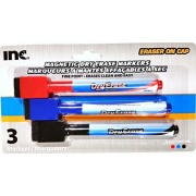 Magnetic Dry Erase Markers with Eraser on Cap, 3 Colors