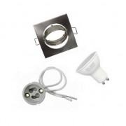 Silamp Kit Spot LED GU10 encastrable avec Ampoule LED 6W - couleur eclairage : Blanc Chaud 2300K - 3500K