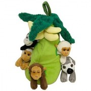 Plush Monkey House with Animals - Five (5) Stuffed Monkeys in Play Banana Tree Carrying Case