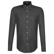 Seidensticker Overhemd Faux Uni Contrast Button Near Black / male