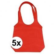 Geen 5 x Rode opvouwbare tassen/shopper