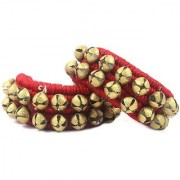 De-Ultimate 1 Pair Of Red Color Musical Kathak Bharatanatyam 2 Line Dancing 40 Bells Handmade Classical Odissi Ghungroo