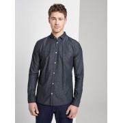TOM TAILOR Getextureerde overhemd met slanke Kent kraag, navy stripe with dobby, L