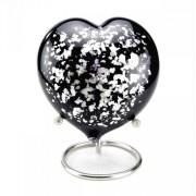 Black-Silver Hart mini urn (180ml)
