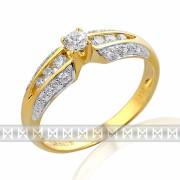Mohutný velký diamantový prsten GEMS diamonds, žluté zlato 585/2,2gr