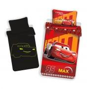 Lenjerie de pat luminoasă din bumbac pentru copii Cars red, 140 x 200 cm, 70 x 90 cm