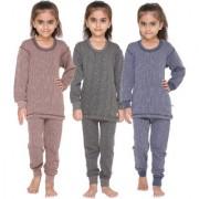 Vimal-Jonney Premium Blended Multicolor Thermal Top&Bottom Set For Girls(Pack Of 3)