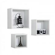 IDIMEX Set de 3 étagères murales MELIS blanc