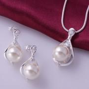 Set elegant placat argint colier si cercei cu perle
