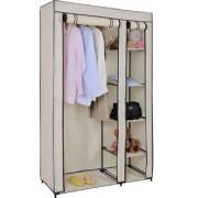 Fancy Portable Foldable Cream Closet Wardrobe Shelf Cabinet Storage Organizer