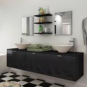 vidaXL Set mobilier baie format din 8 piese cu chiuvete incluse, Negru