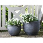 Beliani Conjunto de vasos de plantas cinza - 2 peças - ZAKROS