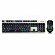 AJAZZ eje azul portatil a todo color RGB retroiluminado 104 teclas mecanicas USB teclado de juego con cable con kit de raton