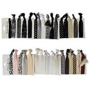 RareLove No Crease Hair Tie Dark Bright Mix Color Elastic Hair Ties Holder Ponytail Holders 33pcs Pack (Black White 33pc