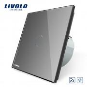 Intrerupator wireless cu variator cu touch Livolo din sticla, gri