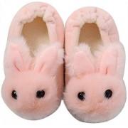 Efeng Pantuflas de felpa suave para niños y niñas con diseño de animales, cálidas y cálidas botas de invierno para interiores y casas, calcetines ligeros, suela antideslizante para niños pequeños, Conejito rosado, 5-6 Toddler