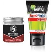 Mister Beard Mooch Wax 100gm WITH Garnier AcnoFight Anti Pimple Face Wash