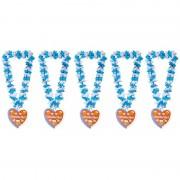 Folat 5x Bloemenkransen/hawaiikransen Oktoberfest blauw/wit - Verkleedattributen