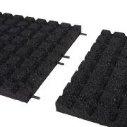Černá gumová dopadová dlaždice (V45/R15) FLOMA - délka 100 cm, šířka 100 cm a výška 4,5 cm
